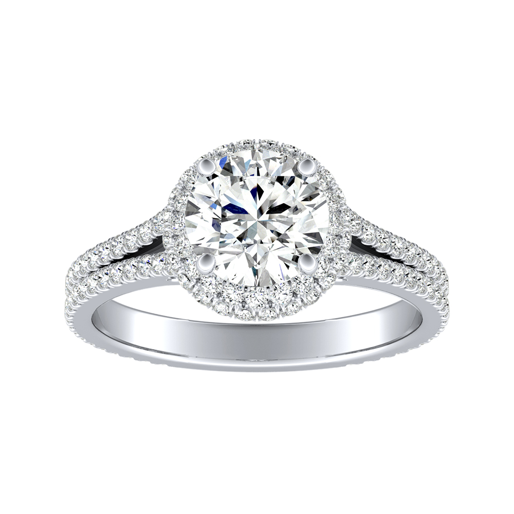 JOCELYN Halo Diamond Engagement Ring In 14K White Gold