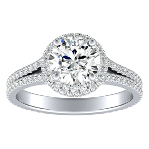 JOCELYN Halo Diamond Engagement Ring In 14K White Gold With 0.50ct. Round Diamond