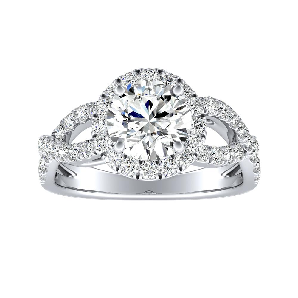 JULIANA Halo Diamond Engagement Ring In 14K White Gold