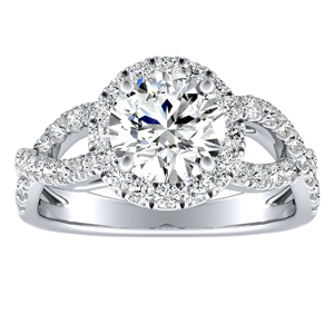 JULIANA Halo Diamond Engagement Ring In 14K White Gold