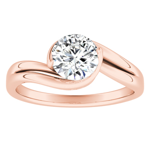 GAIA  Solitaire  Moissanite  Engagement  Ring  In  14K  Rose  Gold  With  0.50  Carat  Round  Stone
