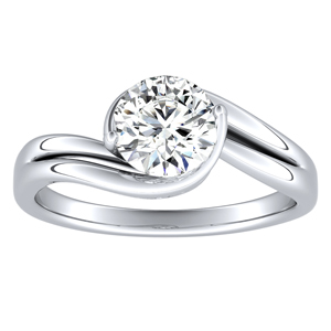 GAIA Solitaire Moissanite Engagement Ring In 14K White Gold With 0.50 Carat Round Stone