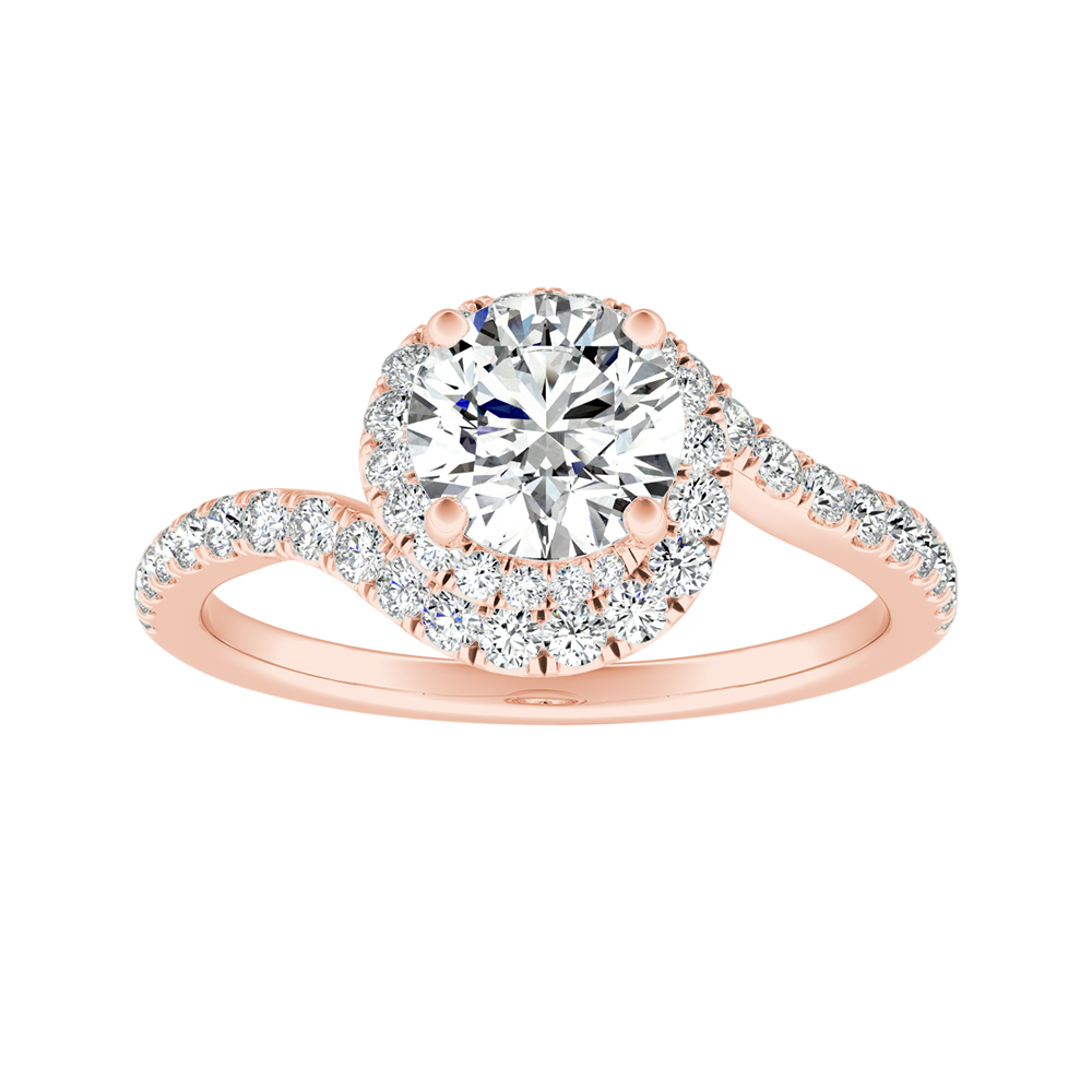 ARIEL Halo Diamond Engagement Ring In 14K Rose Gold