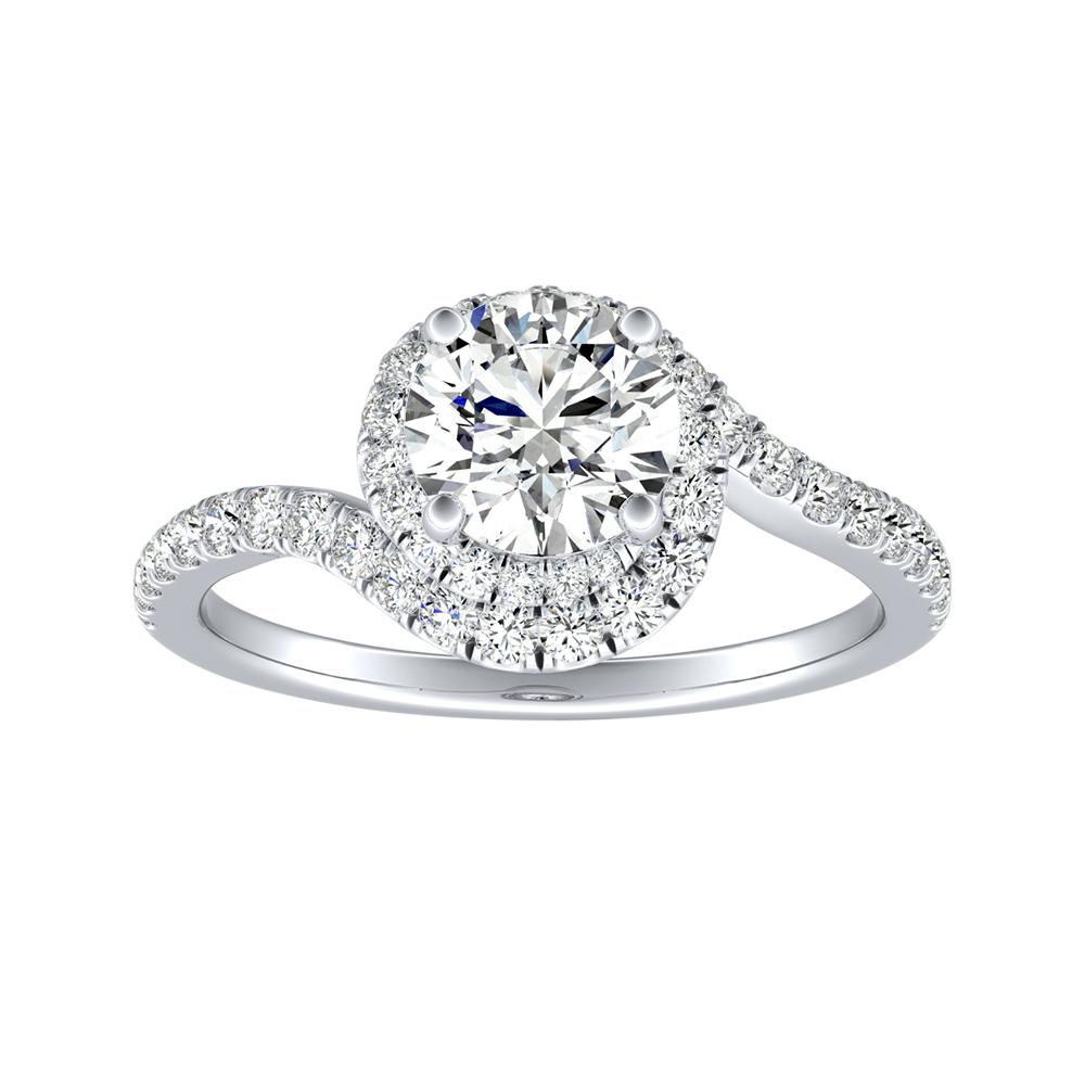 ARIEL Halo Diamond Engagement Ring In 14K White Gold