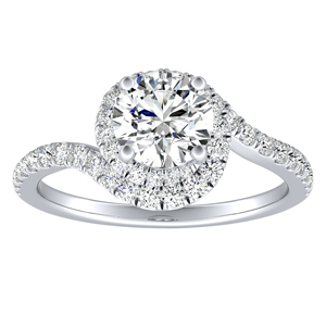 ARIEL Halo Diamond Engagement Ring In 14K White Gold
