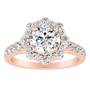 ADELINE Halo Diamond Engagement Ring In 14K Rose Gold