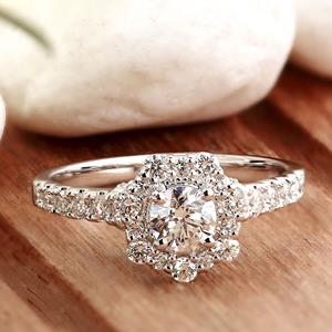 ADELINE Halo Diamond Engagement Ring In 14K White Gold With 0.50ct. Round Diamond