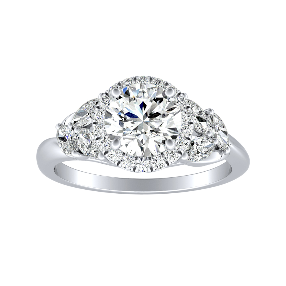 KAITLYN Halo Diamond Engagement Ring In 14K White Gold