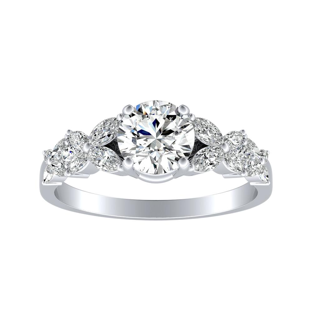 LAILA Modern Diamond Engagement Ring In 14K White Gold