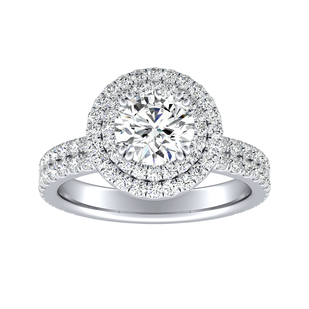 SOLEIL Double Halo Diamond Engagement Ring In 14K White Gold