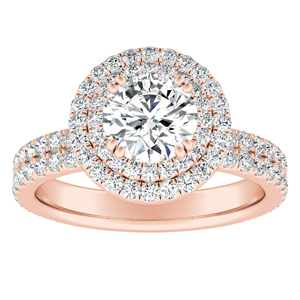 SOLEIL Double Halo Diamond Engagement Ring In 14K Rose Gold