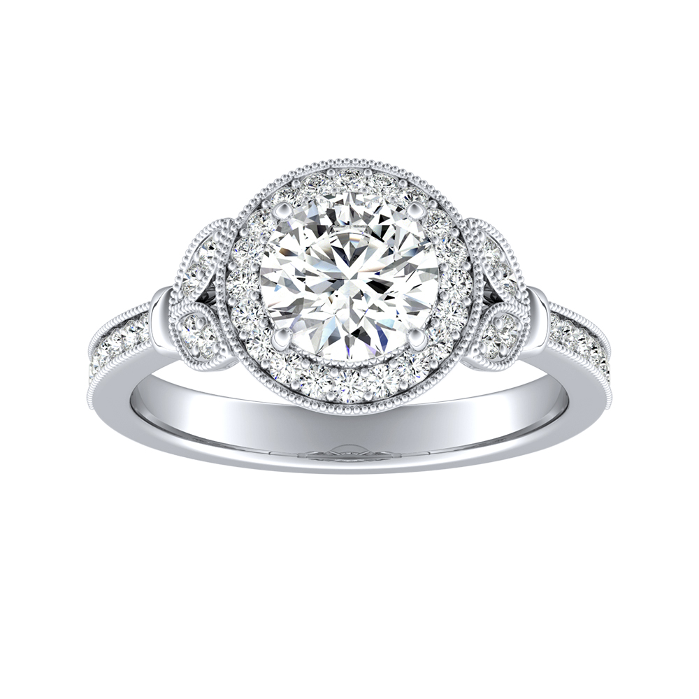 MICHELLE Halo Diamond Engagement Ring 14K White Gold