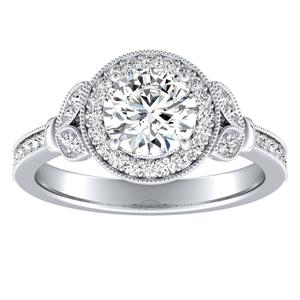 MICHELLE Halo Diamond Engagement Ring 14K White Gold