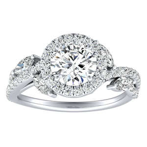 EDEN Halo Diamond Engagement Ring In 14K White Gold