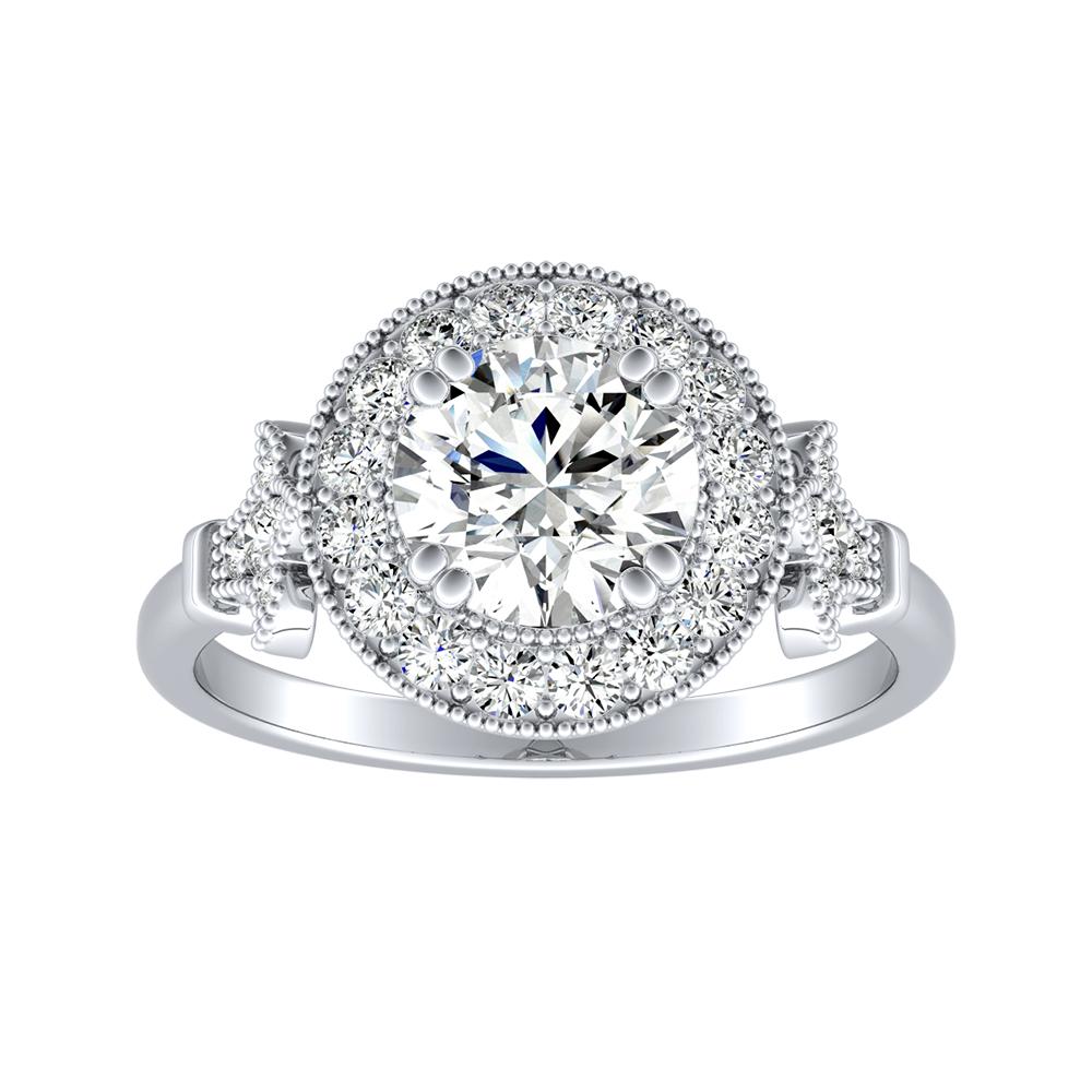 VALENTINA Halo Diamond Engagement Ring In 14K White Gold