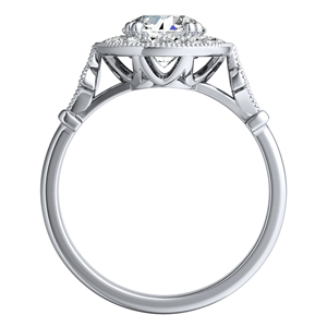 VALENTINA Halo Diamond Engagement Ring In 14K White Gold