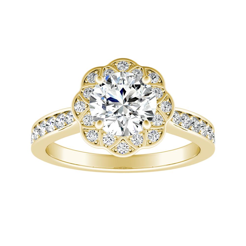 ROSETTA Halo Diamond Engagement Ring In 18K Yellow Gold