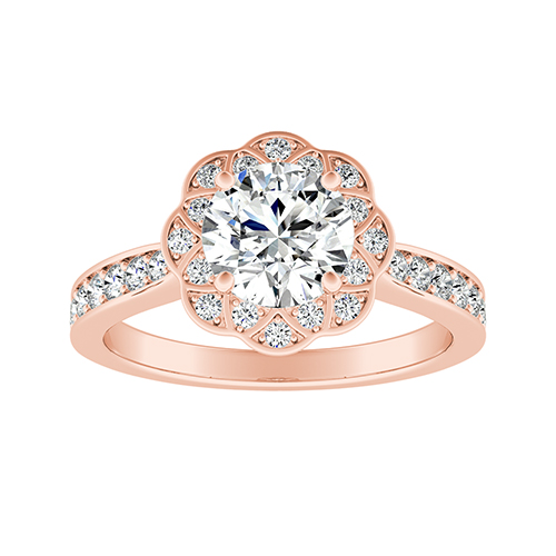 ROSETTA Halo Diamond Engagement Ring In 14K Rose Gold With GIA Certified 0.50 Carat Round Diamond