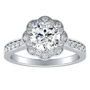 ROSETTA Halo Diamond Engagement Ring In 14K White Gold