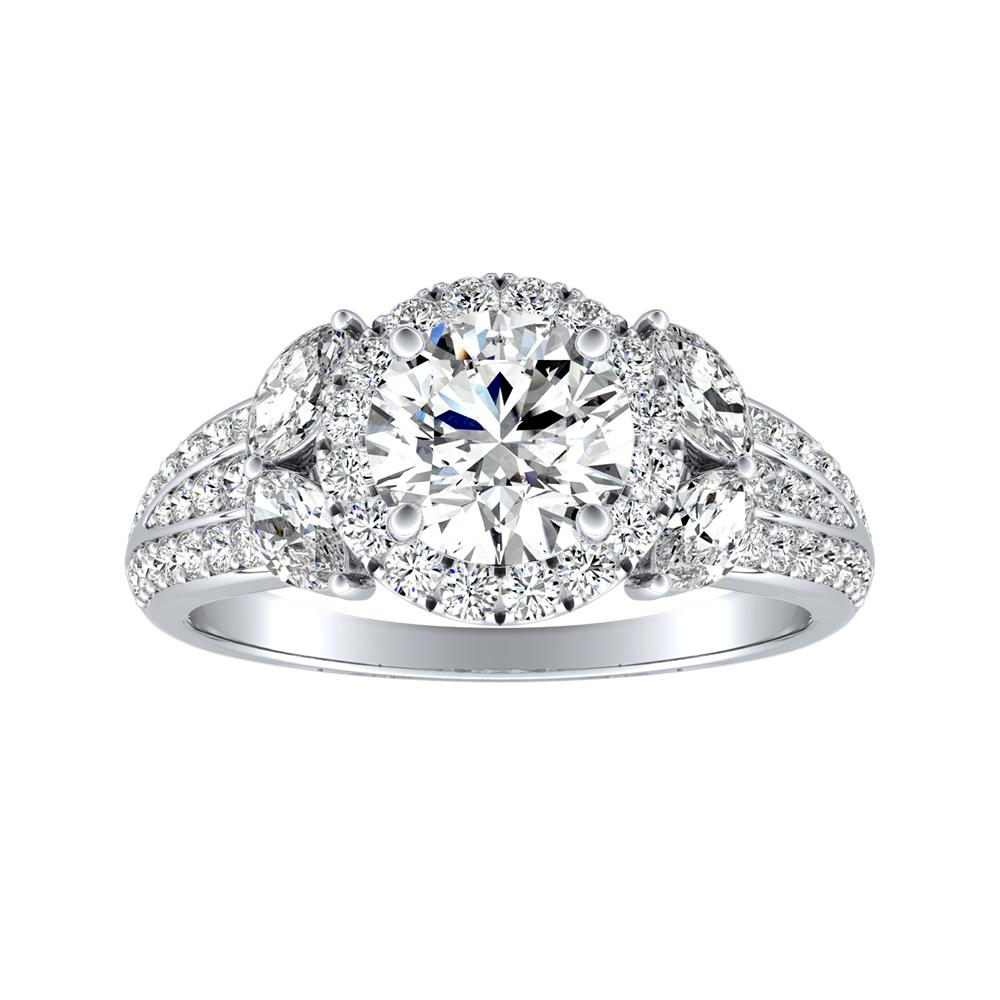 GENIL Halo Diamond Engagement Ring In 14K White Gold