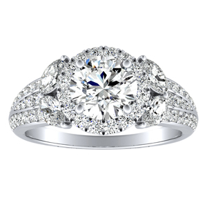 GENIL Halo Diamond Engagement Ring In 14K White Gold