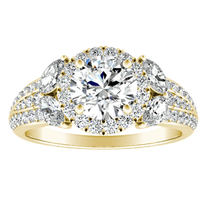 GENIL Halo Diamond Engagement Ring In 18K Yellow Gold