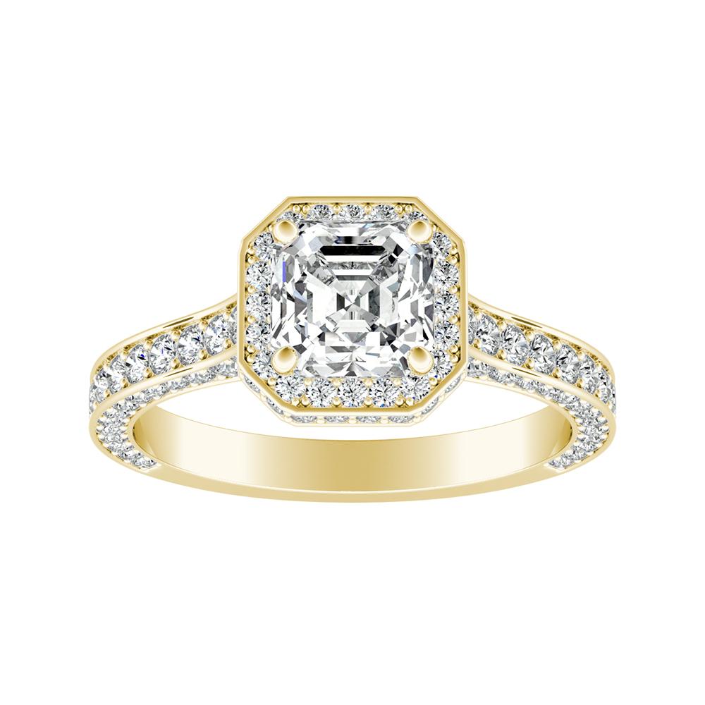 ALYSHA Halo Diamond Engagement Ring In 14K Yellow Gold