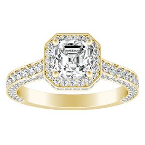 ALYSHA Halo Diamond Engagement Ring In 18K Yellow Gold
