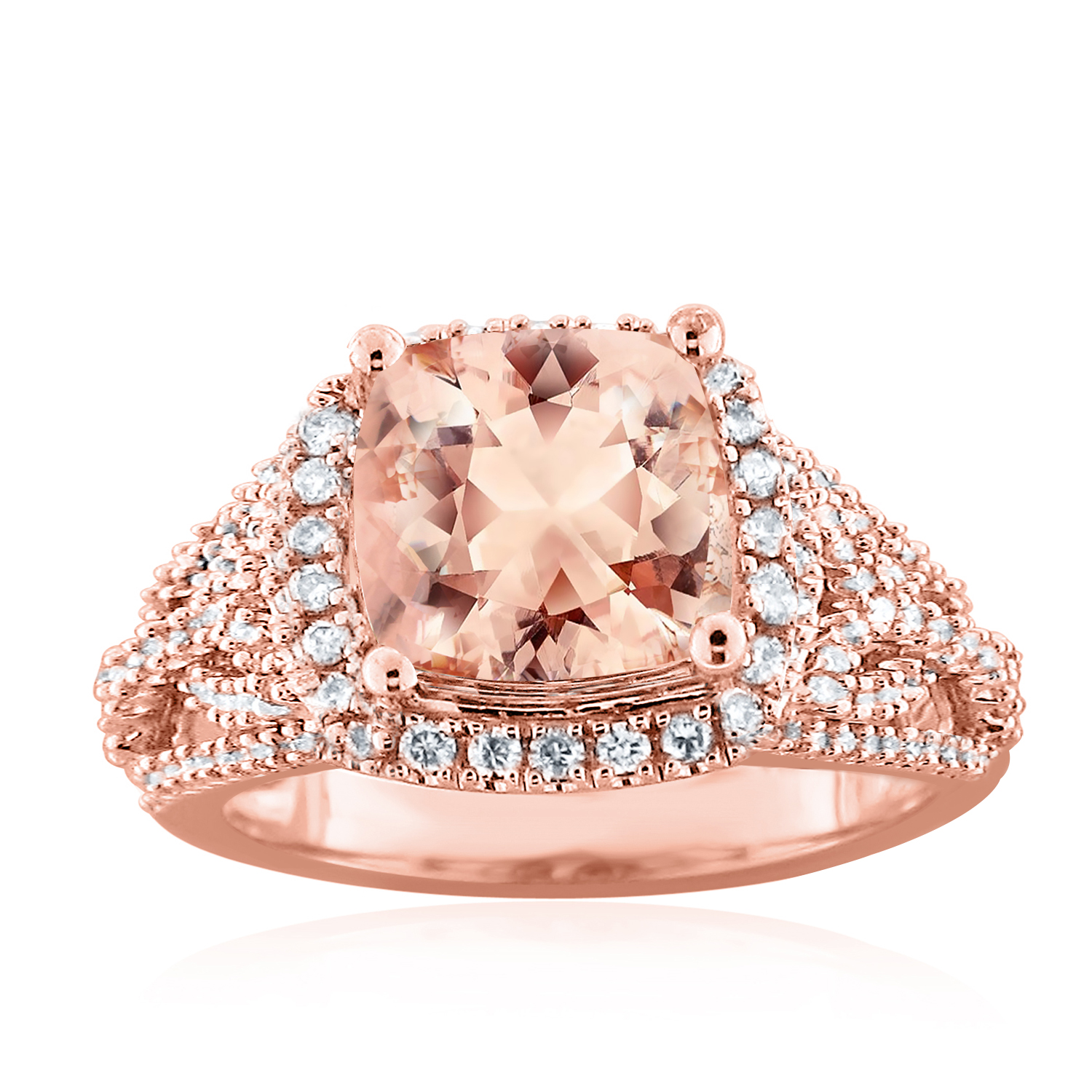 ELLEN Halo Morganite Engagement Ring In 14K Rose Gold With 1.00 Carat Cushion Stone