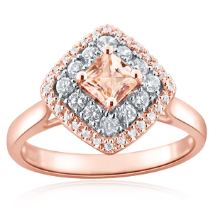 AMIE  Halo  Morganite  Engagement  Ring  In  14K  Rose  Gold  With  1.00  Carat  Cushion  Stone