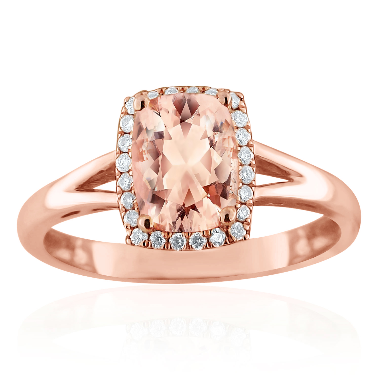 SALINA Halo Morganite Engagement Ring In 14K Rose Gold With 1.00 Carat Cushion Stone