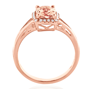 SALINA  Halo  Morganite  Engagement  Ring  In  14K  Rose  Gold  With  1.00  Carat  Cushion  Stone