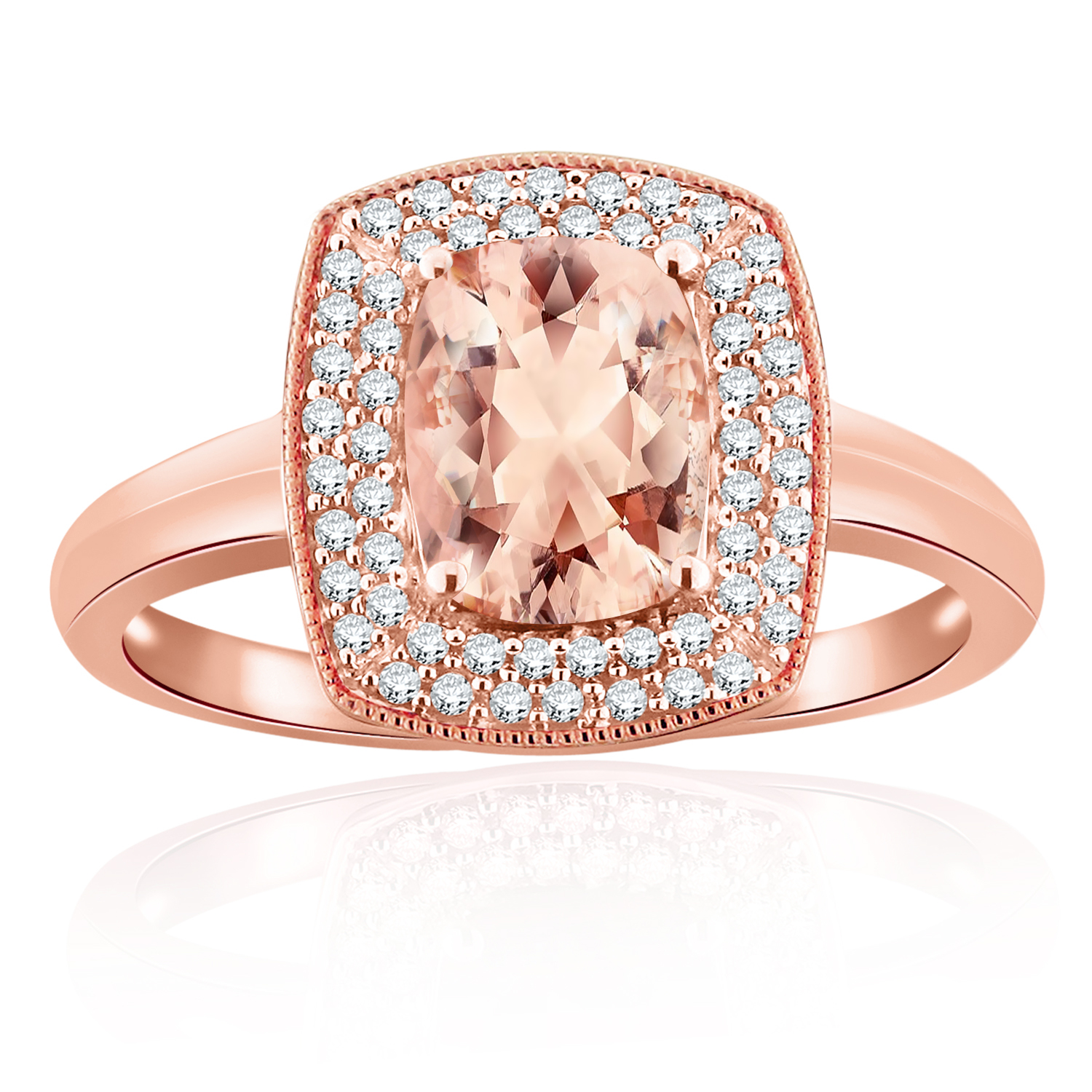 AMELIA Halo Morganite Engagement Ring In 14K Rose Gold With 4.00 Carat Cushion Stone