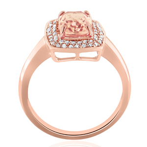 AMELIA  Halo  Morganite  Engagement  Ring  In  14K  Rose  Gold  With  1.00  Carat  Cushion  Stone