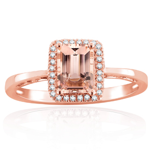 DARYA Halo Morganite Engagement Ring In 14K Rose Gold With 1.00 Carat Emerald Stone