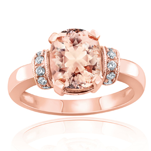 ADDISON  Morganite  Engagement  Ring  In  14K  Rose  Gold  With  1.00  Carat  Cushion  Stone