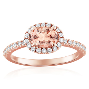 MERYL  Halo  Morganite  Engagement  Ring  In  14K  Rose  Gold  With  1.00  Carat  Oval  Stone