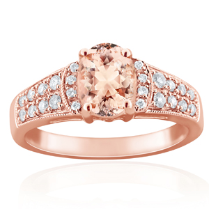 CAMILA  Morganite  Engagement  Ring  In  14K  Rose  Gold  With  1.00  Carat  Oval  Stone