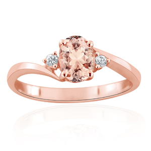 ELLIE  Morganite  Engagement  Ring  In  14K  Rose  Gold  With  1.00  Carat  Oval  Stone