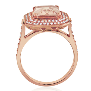 MADELYN  Double  Halo  Morganite  Engagement  Ring  In  14K  Rose  Gold  With  1.00  Carat  Emerald  Stone