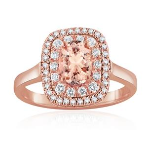 HAZEL Double Halo Morganite Engagement Ring In 14K Rose Gold With 4.00 Carat Oval Stone