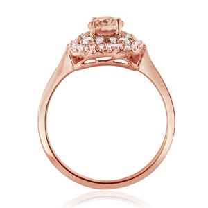 HAZEL  Double  Halo  Morganite  Engagement  Ring  In  14K  Rose  Gold  With  1.00  Carat  Oval  Stone