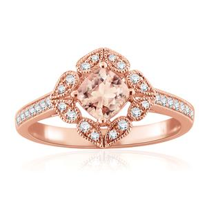 MELANIE Halo Morganite Engagement Ring In 14K Rose Gold With 1.00 Carat Cushion Stone