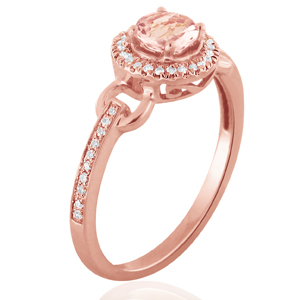 BRIANNA  Halo  Morganite  Engagement  Ring  In  14K  Rose  Gold  With  1.00  Carat  Round  Stone