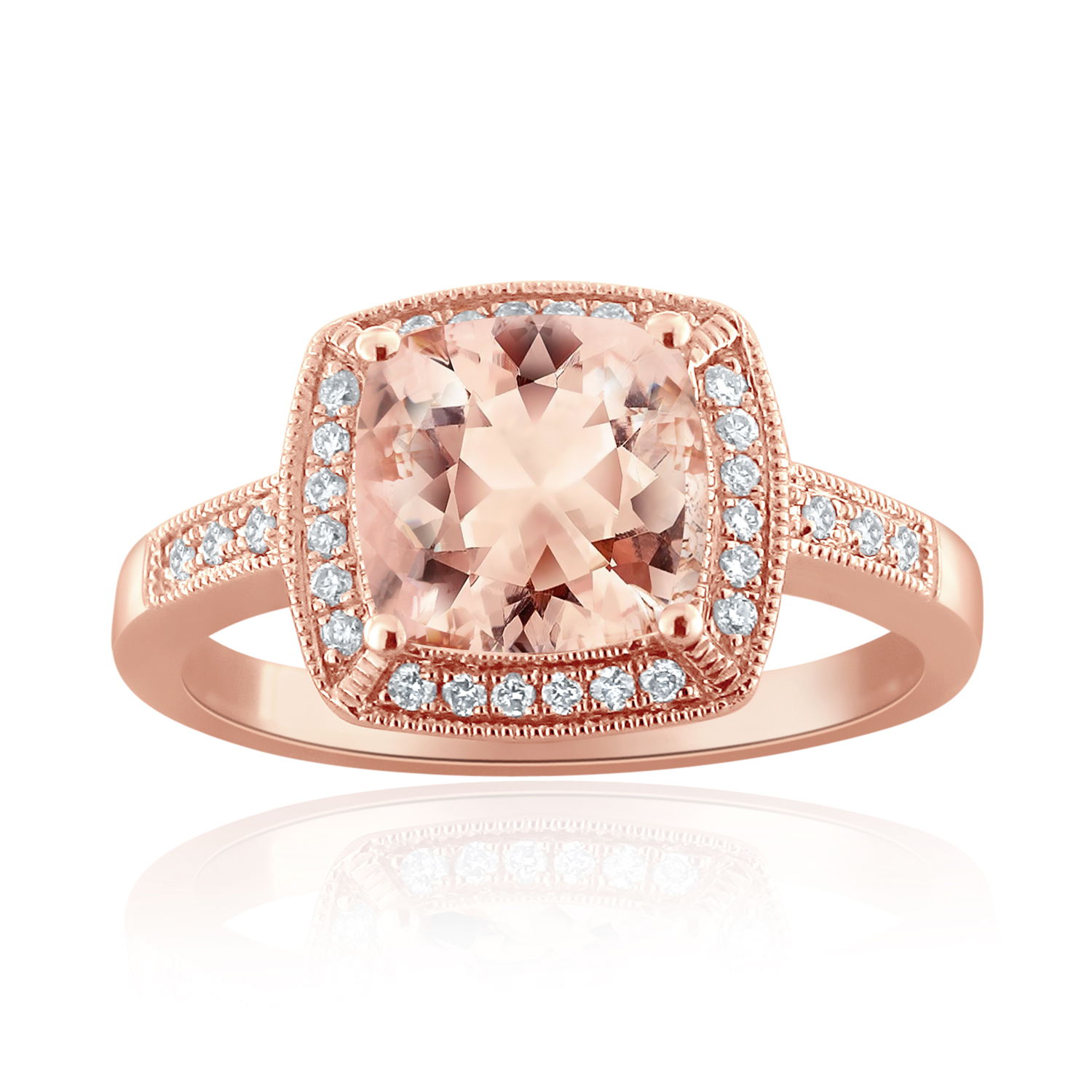 MADELINE Halo Morganite Engagement Ring In 14K Rose Gold With 1.00 Carat Cushion Stone