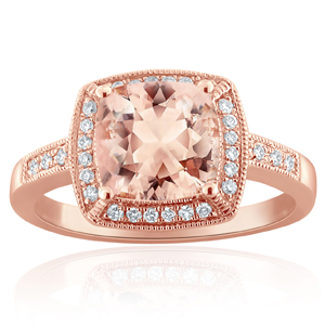 MADELINE Halo Morganite Engagement Ring In 14K Rose Gold With 4.00 Carat Cushion Stone