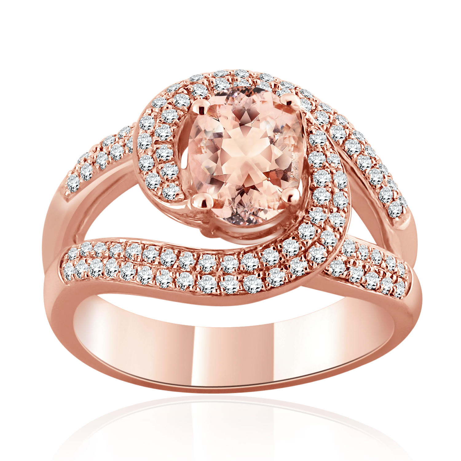 BAILEY Halo Swirl Morganite Engagement Ring In 14K Rose Gold With 1.00 Carat Oval Stone