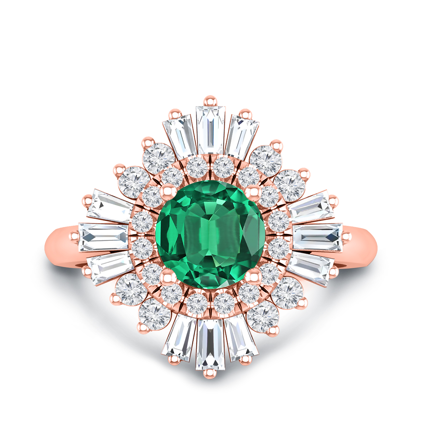 CHARLESTON Ballerina Halo Green Emerald Engagement Ring In 14K Rose Gold With 0.50 Carat Round Stone