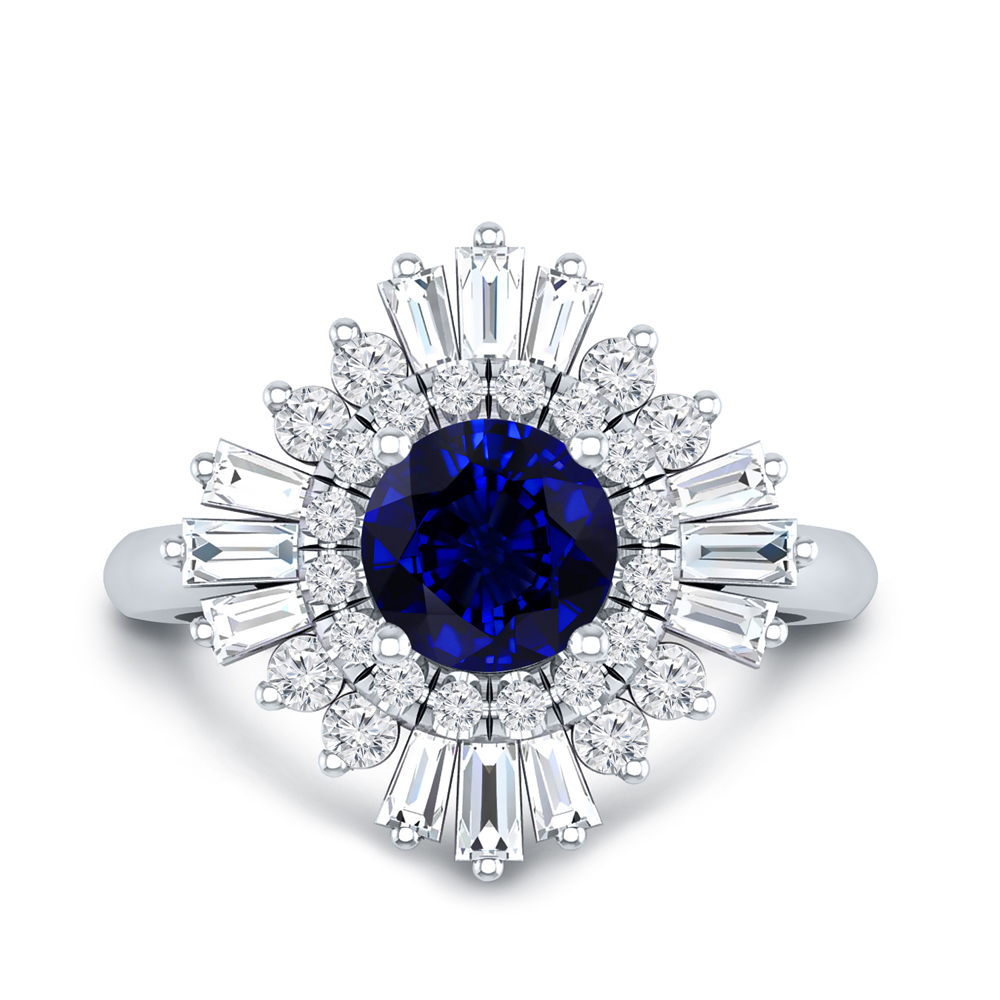 CHARLESTON Ballerina Halo Blue Sapphire Engagement Ring In 14K White Gold With 0.30 Carat Round Stone