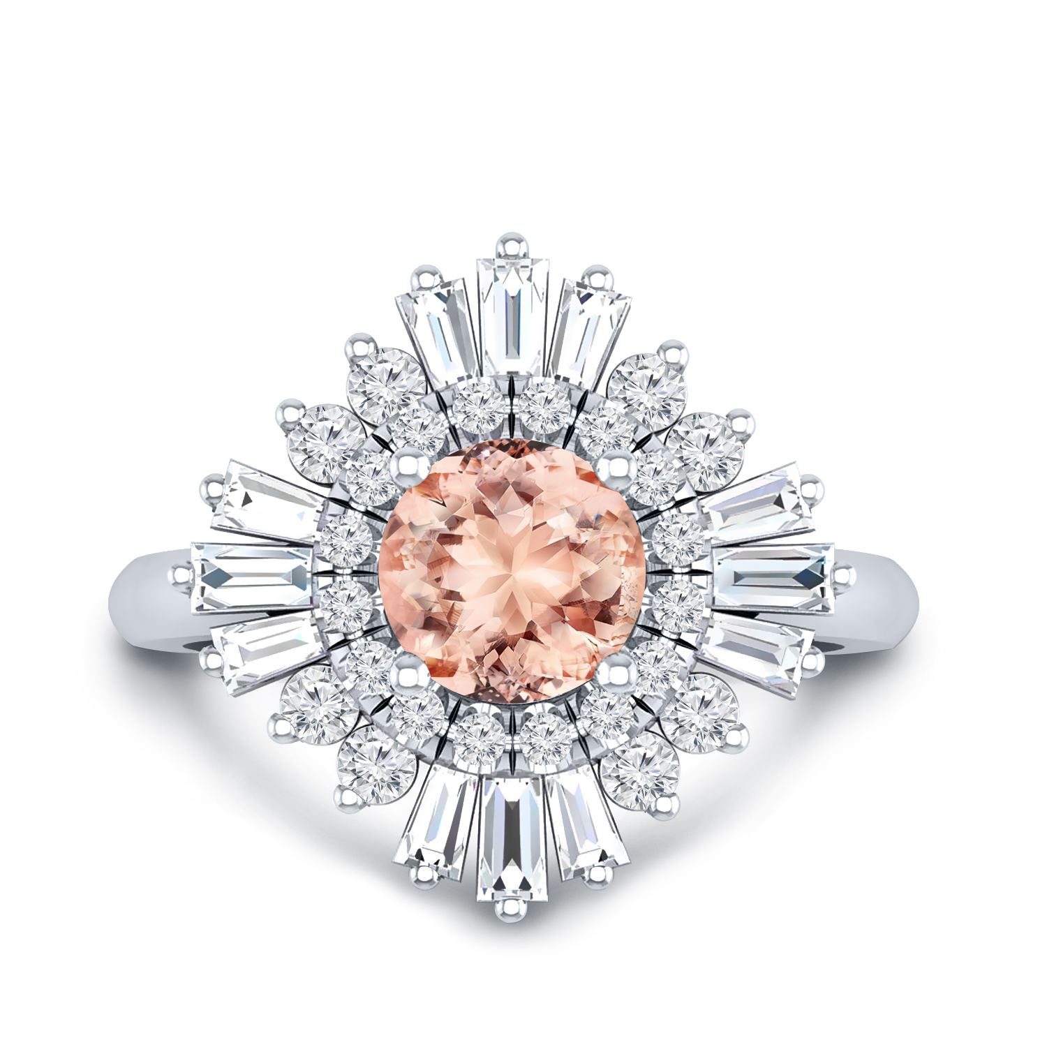 CHARLESTON Ballerina Halo Morganite Engagement Ring In 14K White Gold With 1.00 Carat Round Stone